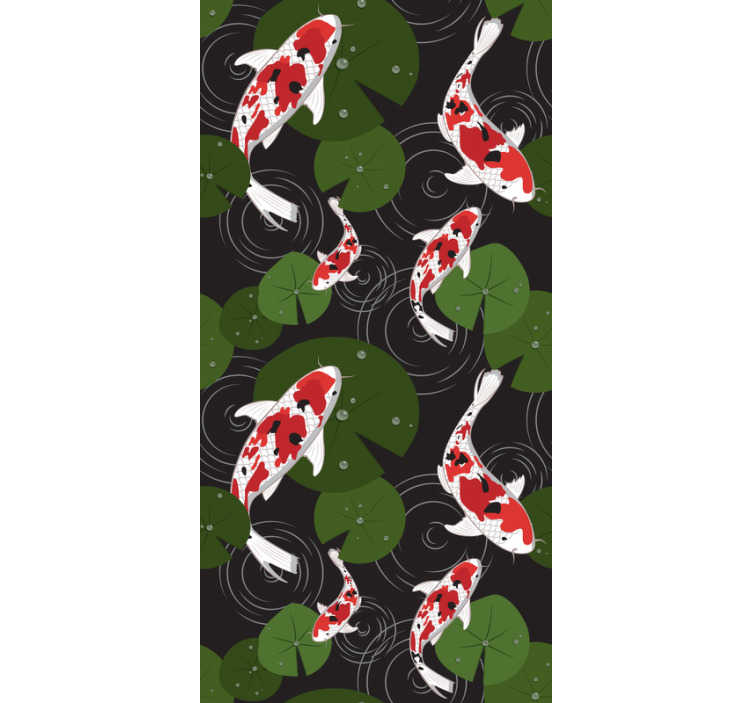 TenStickers. Papier peint salon koi orientale. Commandez ce papier peint animal avec un design inhabituel de poissons nageant autour du magnifique lac plein de feuilles. Meilleure qualité possible.