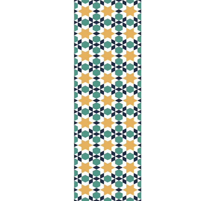 TenStickers. Papel de parede de padrões estrelas marroquinas. Peça um papel de parede ornamental e diga adeus às paredes chatas. Com este padrão marroquino em cores vivas, sempre terá uma sala cheia vida.