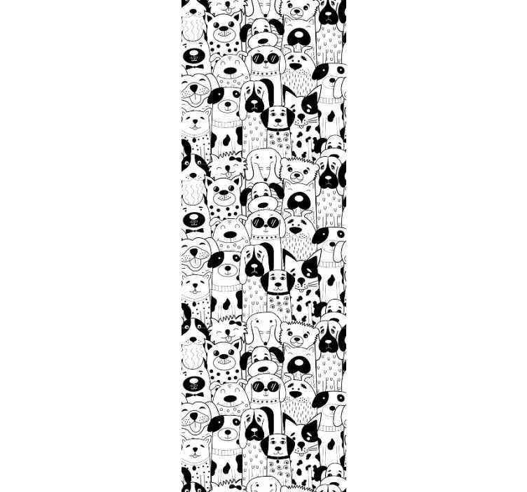 TenStickers. 狗图案卧室壁纸. 这款有趣的动物壁纸,上面有几只黑白相间的几只狗的插图,将为您的孩子的房间增添梦幻般的装饰。