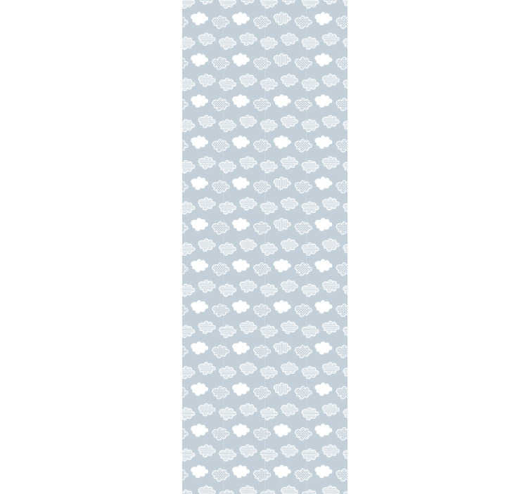 TenStickers. 蓝云花纹壁纸. 美丽的图案的壁纸,由柔和的蓝色背景上的多个灰色和白色云彩组成,为您的客厅或儿童房。