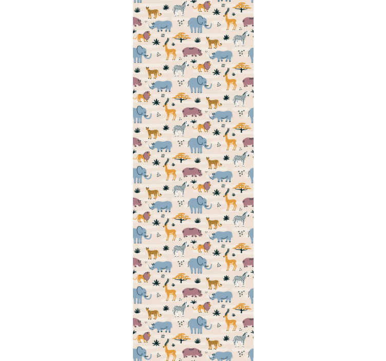 TenStickers. Wild Animals Bedroom Wallpaper. Decorate your children's room in a colorful and fun way with this animals wallpaper with wild animals in different colors on a light pink background.
