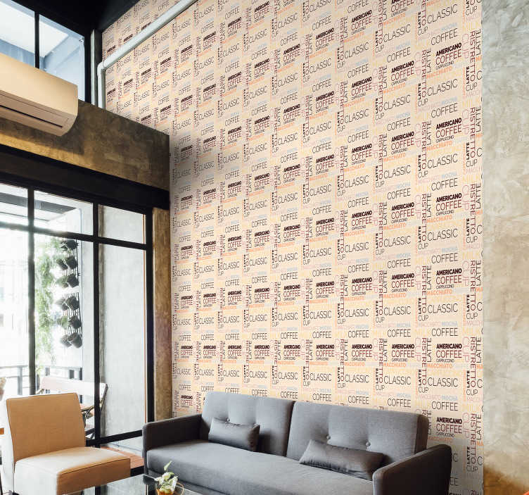 TenStickers. Letter wallpaper hot drinks coffee. Perfect for coffee lovers who would like to enjoy their morning latte while being surrounded by those stunning walls covered in a luxury wallpaper