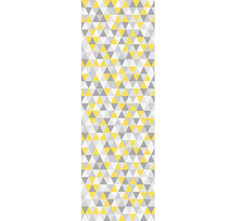 TenStickers. Wallpaper with yellow and gray triangles. Order this stunning triangle wallpaper with shapes in yellow, grey and white. This will make your rooms seems to be bigger and to have more depth.