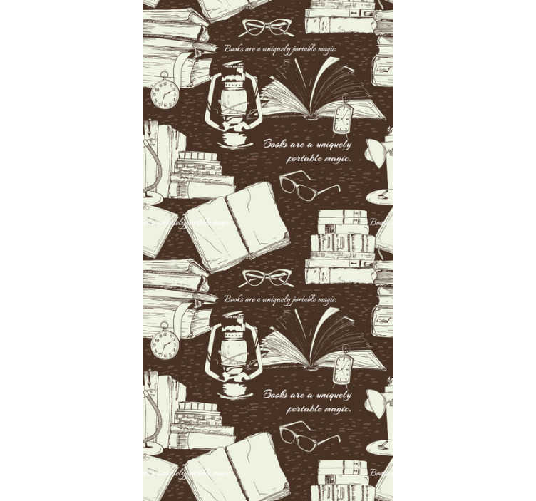 TenStickers. Papier peint étagère livre vintage. Ce papier peint de salon vintage avec la conception de livres, d'horloges rétro et de lampes à l'ancienne deviendra un port vers un monde magique d'imagination