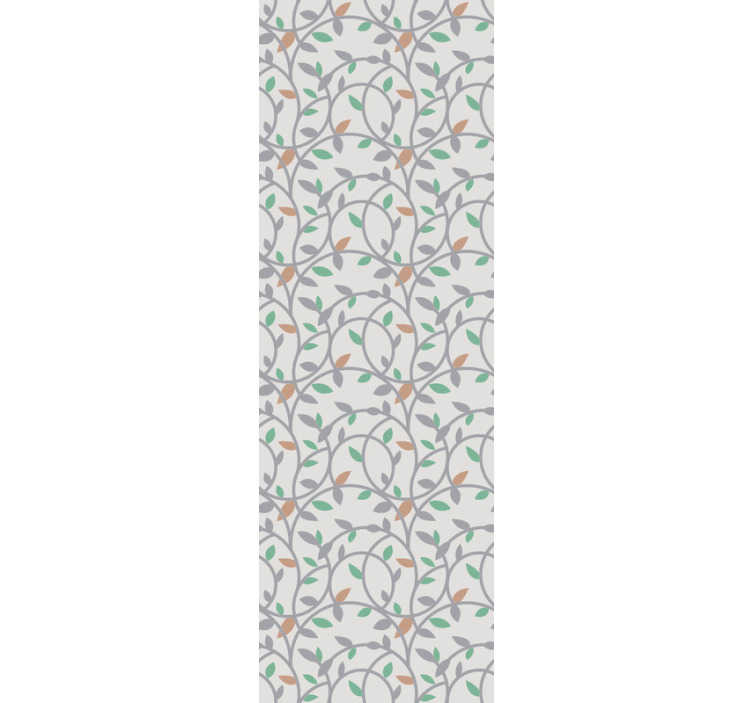 TenStickers. Kids wallpaper beautiful branches Ornamental. Order ornamental wallpaper which is full of beautiful details in grey, green and orange colour which is a perfect and modern combination!