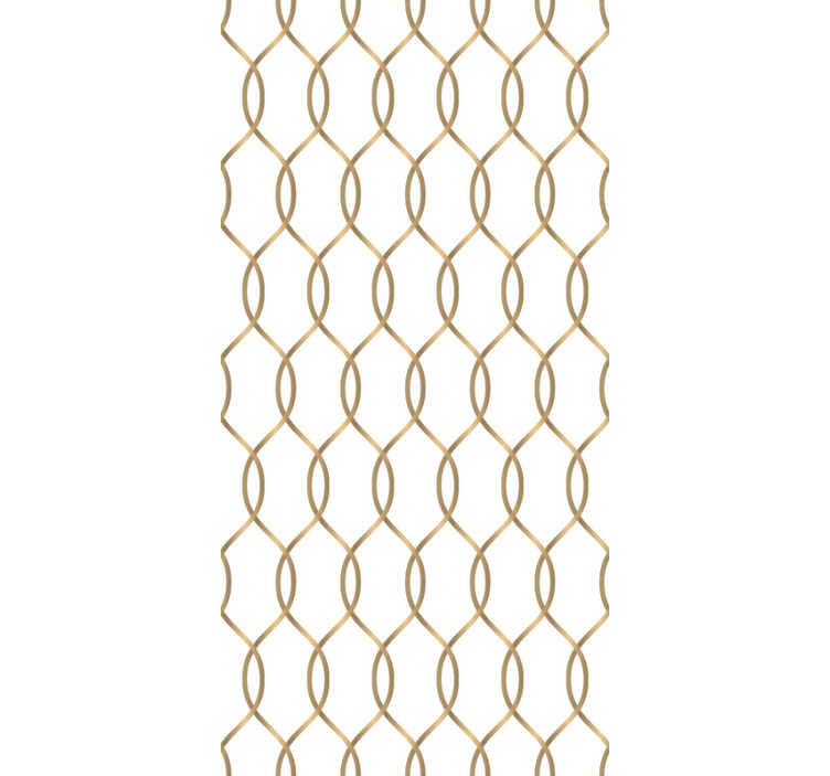 TenStickers. Ornamental wallpaper with golden stripes. The time to redecorate your rooms has come. Order this golden shapes wallpaper and make your interiors full of elegance and style.