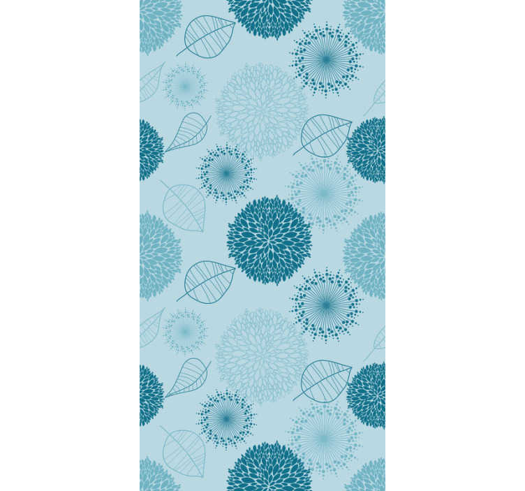 TenStickers. Blue wallpaper with flowers and plants. The time to redecorate your living room has come! Order this stunning blue wallpaper and forget about boring walls in a matter of seconds.