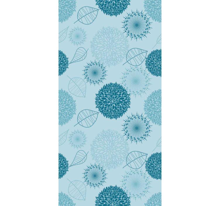 TenStickers. çiçekler ve bitkiler ile mavi duvar kağıdı. Oturma odanızı yeniden dekore etme zamanı geldi! Bu çarpıcı mavi duvar kağıdını sipariş edin ve saniyeler içinde sıkıcı duvarları unutun.