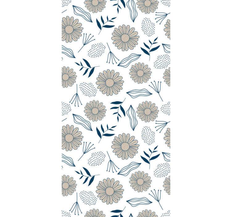 TenStickers. Tapeta beżowy wzór stokrotki. Wykorzystaj moc kwiatów dzięki tej tapecie do sypialni z beżowymi stokrotkami. Wszyscy pokochają ten niesamowity design!