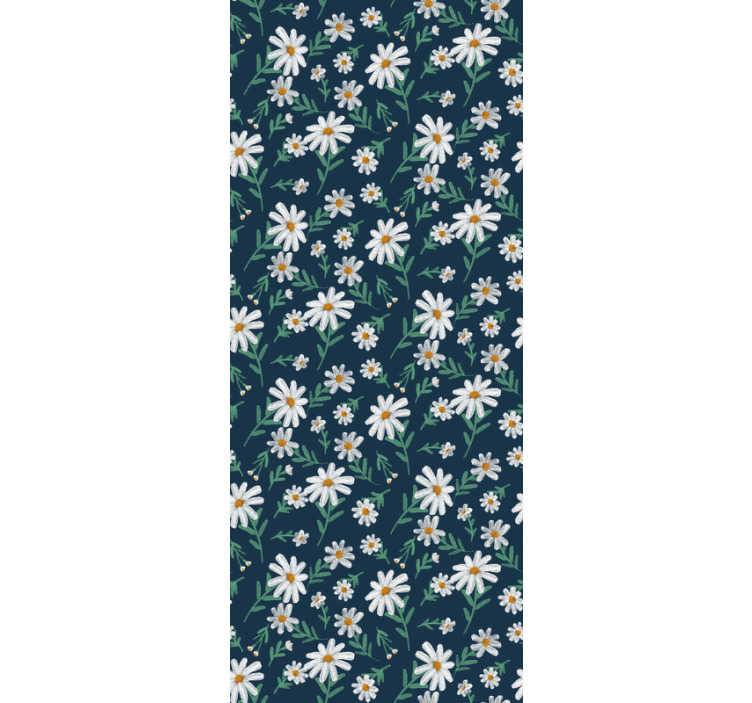 TenStickers. Blue wallpaper with daisy flower. Let the redecoration begin with this nature wallpaper with pattern of daisies that beautifully create a contrast on the blue background.