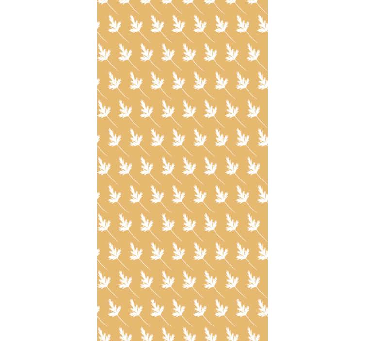 TenStickers. Carta da parati natura modello foglia. Ordina una carta da parati gialla con il motivo di piccole foglie bianche per decorare il tuo salotto in modo moderno. Pieno di stile ed eleganza!