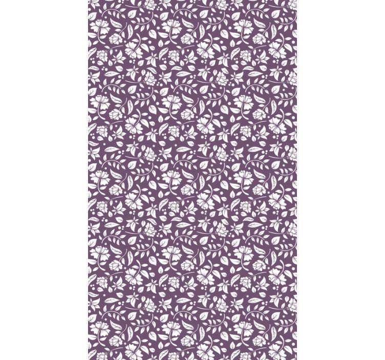 TenStickers. Carta da parati ornamentale fiori vintage. Decora il tuo salotto con questa carta da parati ornamentale con il disegno del motivo bianco sullo Carta da parati viola. Alta qualità e facile applicazione!