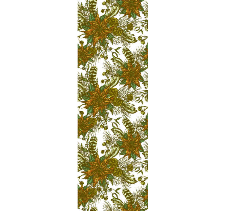 TenStickers. Elegant poinsettia Bedroom Wallpaper. Magnificent floral wallpaper of beautiful poinsettias in vintage style that will give a new life to the walls of your home!