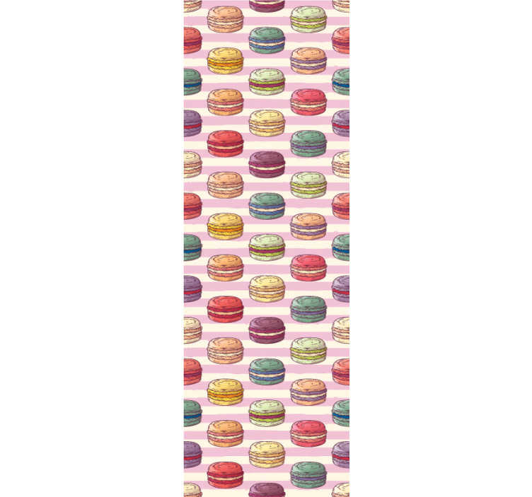 TenStickers. Retro macaroons Kitchen Wallpaper. This retro wallpaper with a pattern of macaroons on a pink and white striped background is perfect to give your kitchen a modern decor!