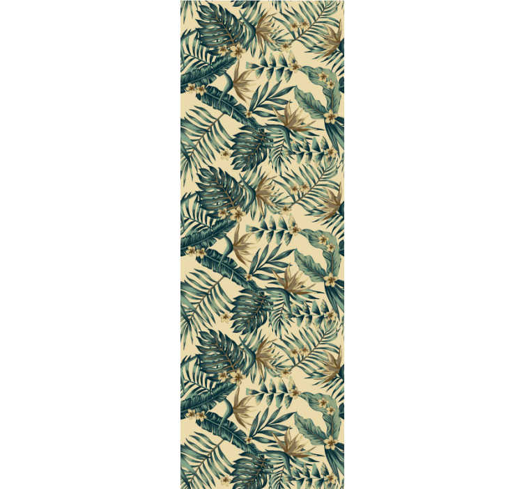 TenStickers. Tropical leaves Nature Wallpaper. This nature wallpaper with a pattern of tropical leaves on a beige background will make your living room or bedroom a beautiful and lively space.