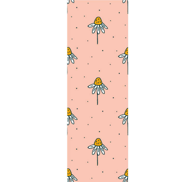 TenStickers. Yellow petal flowers Nature Wallpaper. Decorate your kid's room with this beautiful floral wallpaper with a pattern of hand-drawn daisies on a pink background that will love!