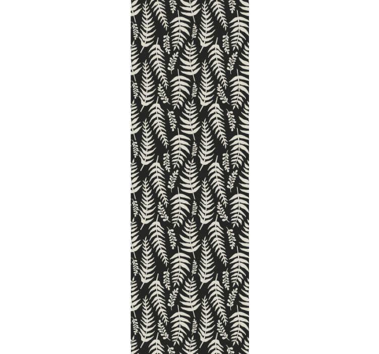 TenStickers. 黑蕨大自然壁纸. 这款壮观的自然风情壁纸在黑色背景上拥有白色热带树叶的典雅花纹,可将您的浴室装饰现代化。