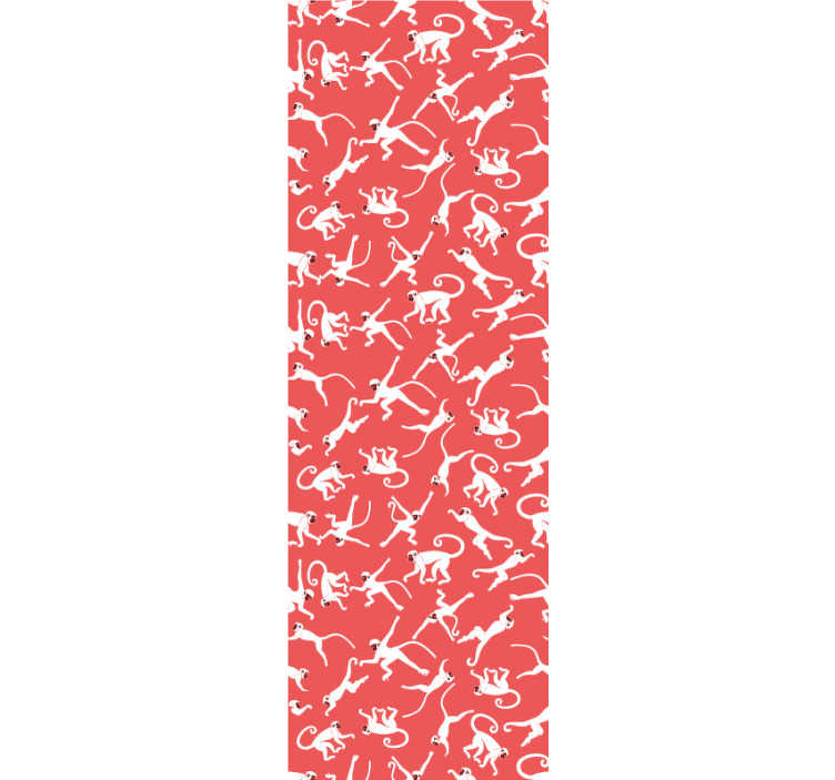 TenStickers. Jungle with monkeys Bedroom Wallpaper. Redecorate your living room or bedroom with this animal wallpaper full of cute monkeys jumping around the red background. High quality!