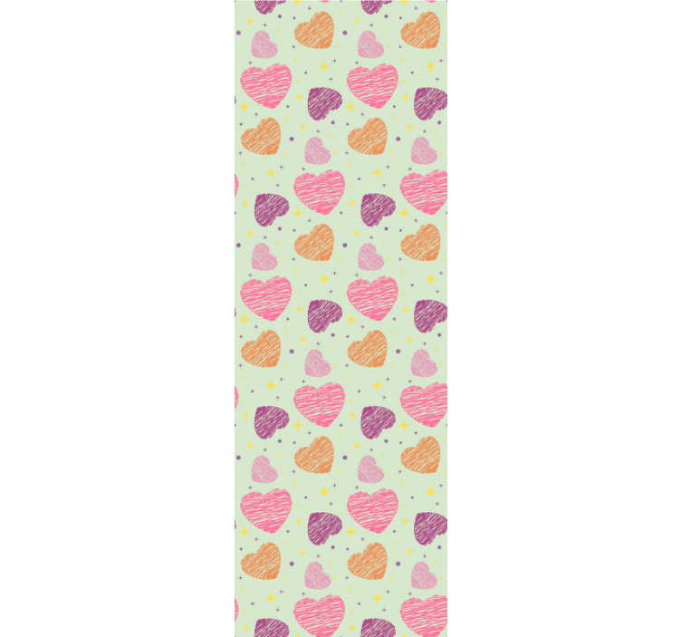 TenStickers. Pink hearts Kids Wallpaper. Childrens bedroom wallpaper that will be a great wall decoration for your kids. The shape of hearts in dfiferent colours is so cute!