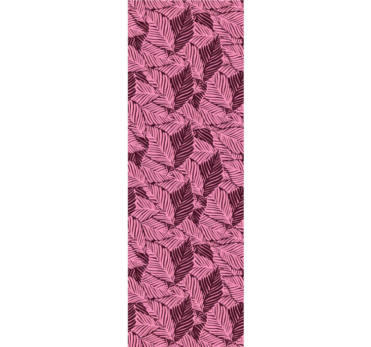TenStickers. Papier peint forêt jungle rose. La conception de ce joli papier peint de salon qui est plein de belles feuilles roses rendra vos pièces intéressantes et belles!