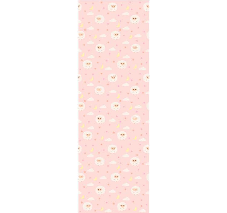 TenStickers. Pink sky with sheep Kids Wallpaper. Decorate house with this kids bedroom wallpaper with the design of cute sheeps on the pink sky with little clouds. High quality product!