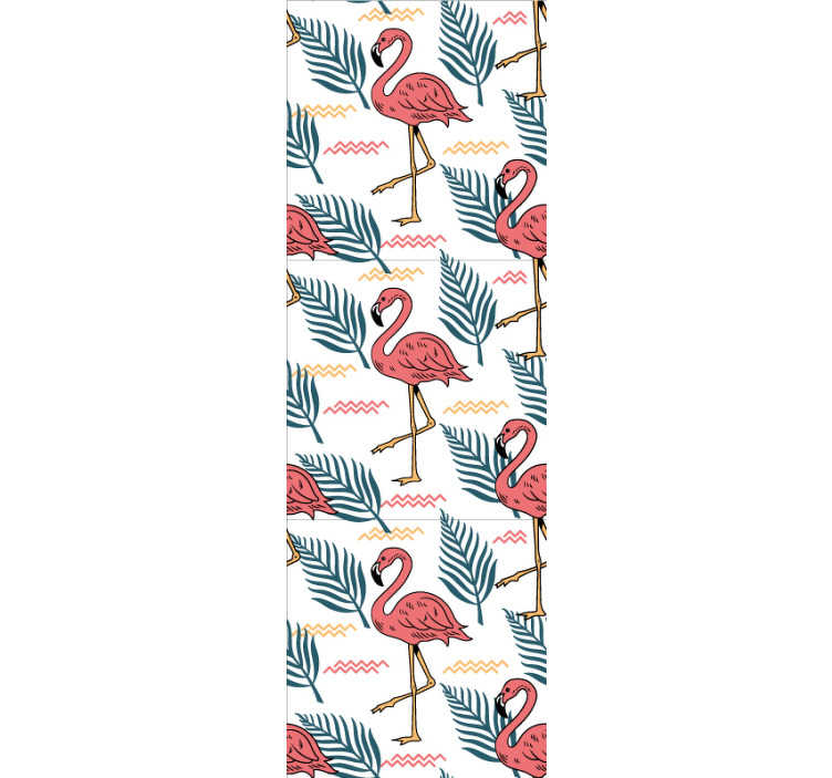 TenStickers. Tropical leaves with flamingos Bedroom Wallpaper. Bring color and life to your home's walls and create fantastic environments with this spectacular animal wallpaper with flamingos and tropical leaves.