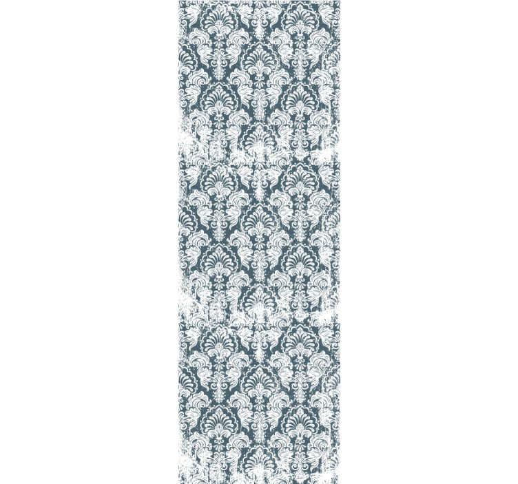 TenStickers. Vintage bloemenbehang. Word verliefd op dit vintage behang vol subtiele ornamenten op de blauwachtige achtergrond. Perfect voor je woonkamer of slaapkamer.