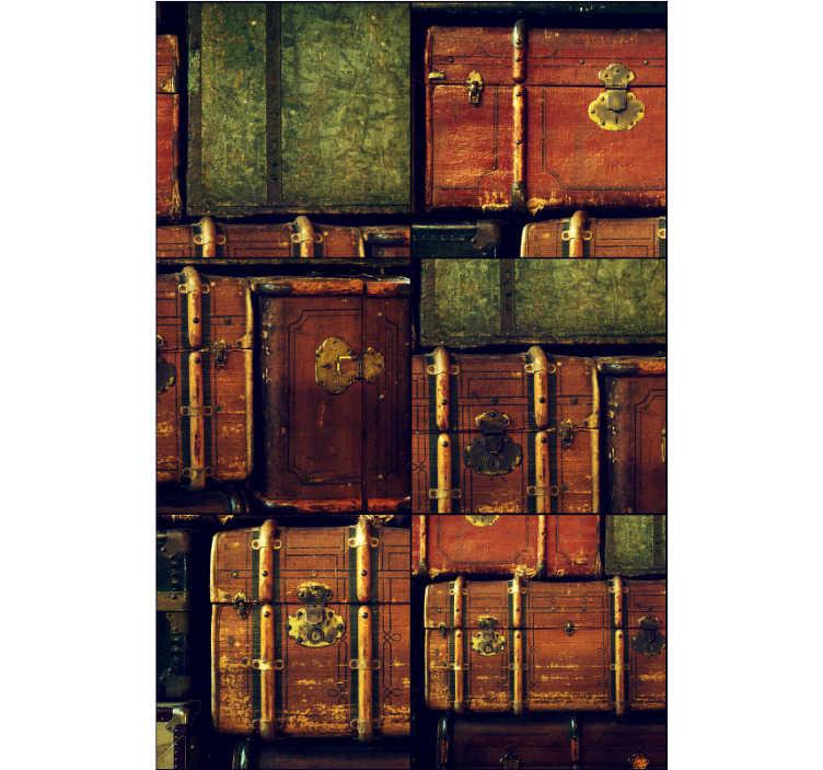 TenStickers. Carta da parati vintage camera da letto valigia. Crea un'atmosfera accogliente nella tua casa con questa carta da parati vintage che presenta fantastiche valigie di un decennio diverso. Registrati per ottenere uno sconto del -10%!