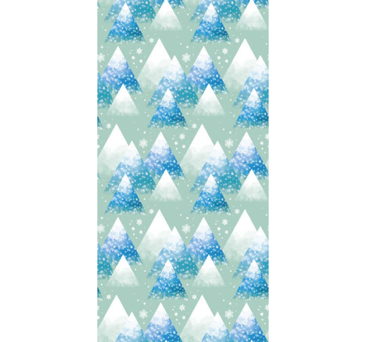 TenStickers. Watercolour Mountain Nature Wallpaper. Forget about boring walls with the design of abstract mountains presented in a minimalistic way surrounded by beautiful snowflakes.