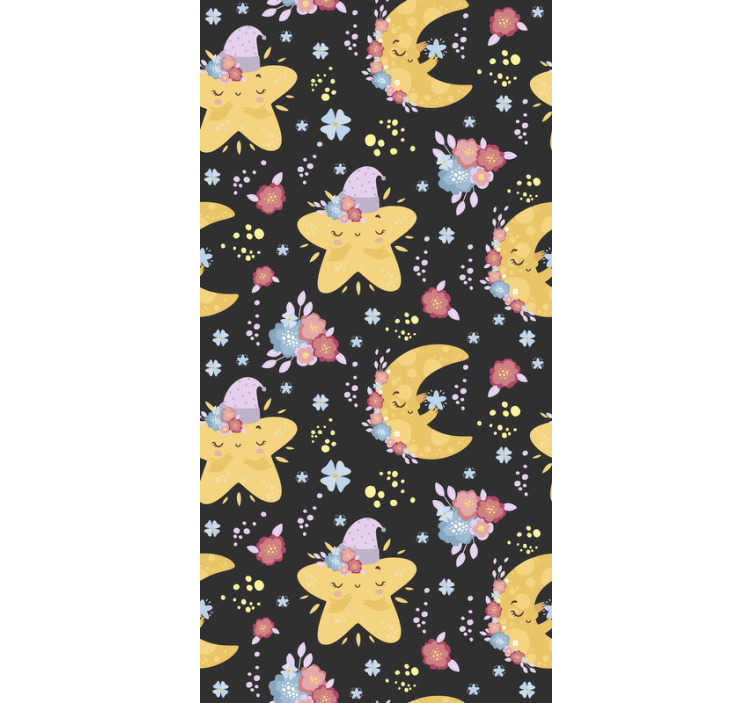 TenStickers. Moon and stars Baby´s Wallpaper. Decorate the baby's room with this kids bedroom wallpaper with stars and moons. Everyone will love this high quality product!