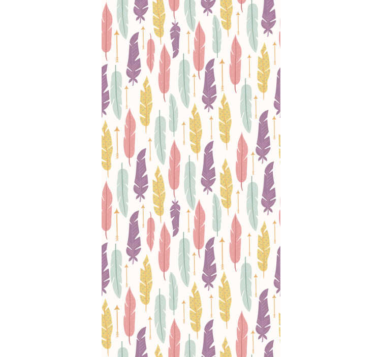 TenStickers. Colourful Feather patterned Wallpaper. Create a house of your dreams with this full of colour patterned wallpaper with a vivid design of feather and arrows. High quality!