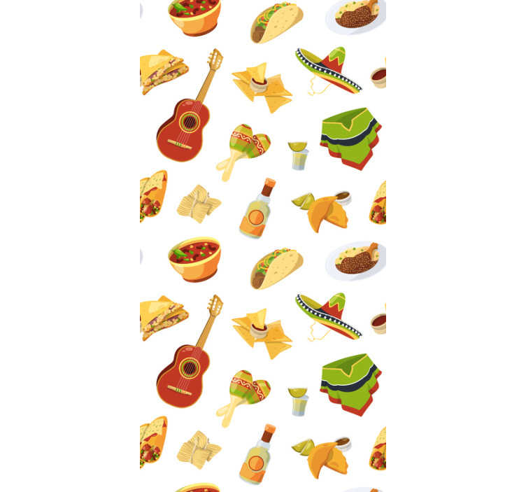 TenStickers. Mexican Feast Kitchen Wallpaper. Feel the Mexican vibe with this kitchen wallpaper full of elements typical for their cuisne and lifestyle. High quality product!