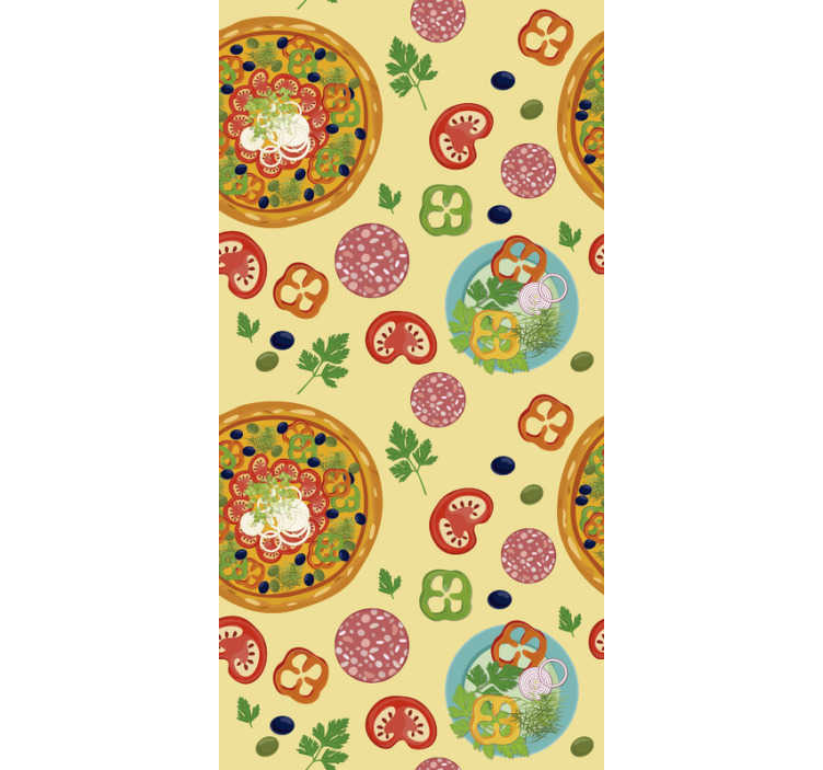 TenStickers. Pizza Kitchen Wallpaper. Show your passion and love for pizza with this ktichen wallpaper. Tomatoes, herbs and peppers surrounding this edible piece of art - pizza.