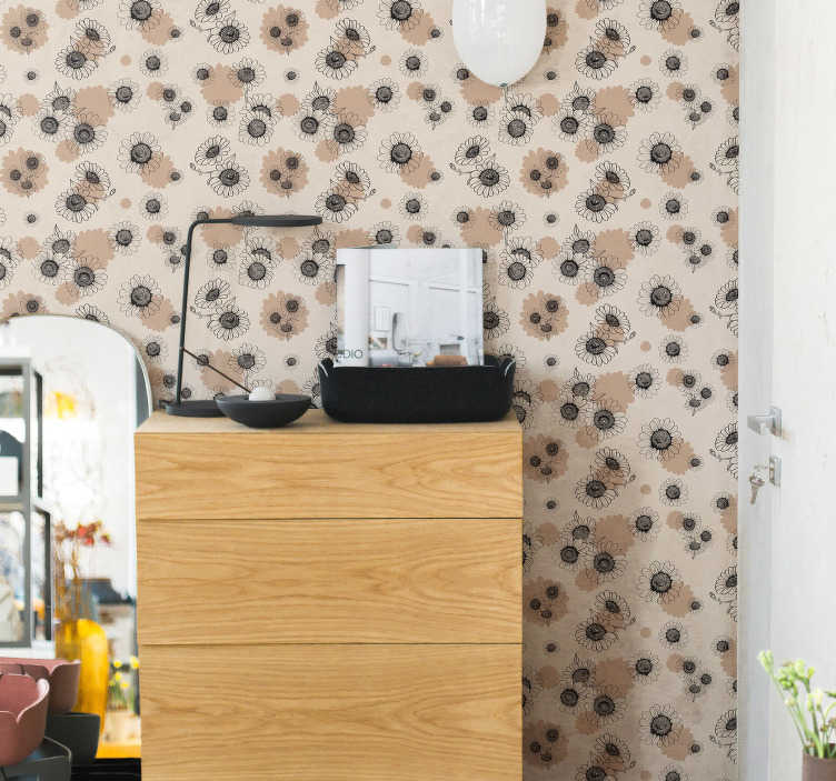 TenStickers. Ornamental Wallpaper hand drawing vintage daisies. With vintage style ornamental wallpaper you can quickly and cheaply renovate your house. Thanks to the matte finishing you will not get any reflection