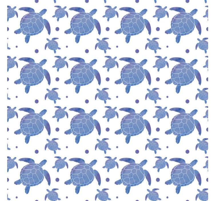 TenStickers. Blue turtles Dining Room Wallpaper. Amazing animal wallpaper with a pattern of turtles in shades of blue on a white background. The perfect decoration for living rooms and dining rooms.