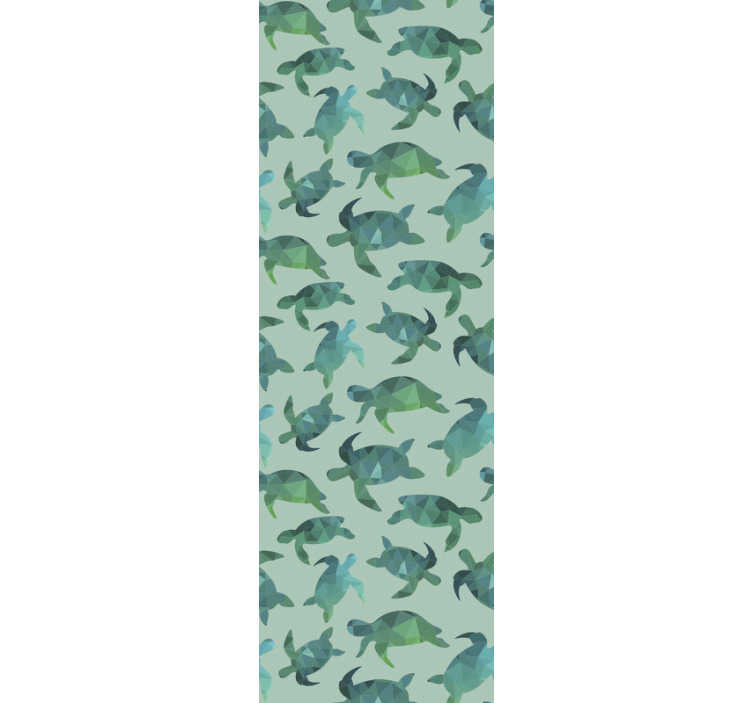 TenStickers. Dieren behang Groene schildpadden. Versier je huis met dit fantastische dierenbehang met een patroon van veel geometrische schildpadden in groene en blauwe tinten.