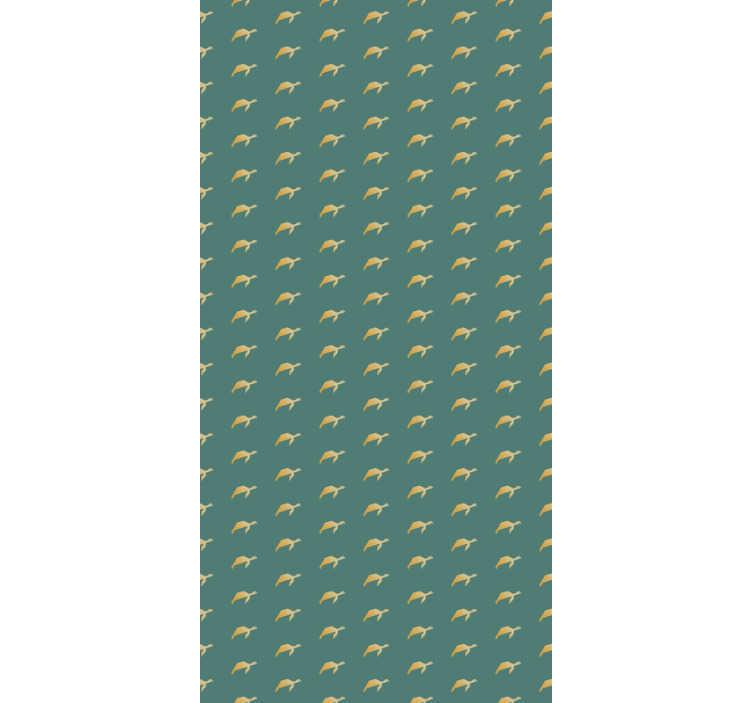 TenStickers. Papier peint chambre Tortues géométriques. Magnifique papier peint animal avec des tortues minimalistes géométriques jaunes sur fond vert. Le complément parfait pour les chambres.