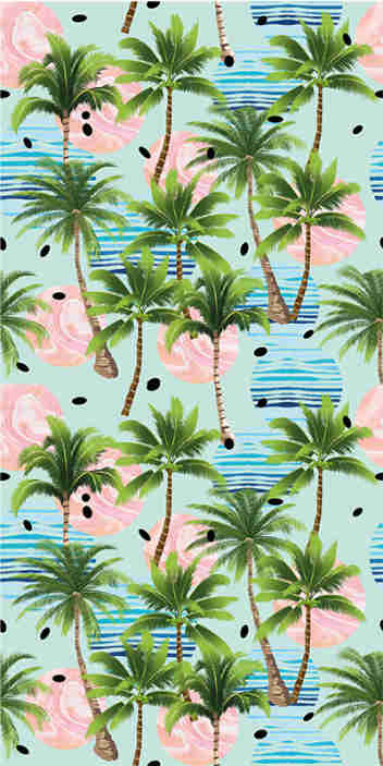 TenStickers. Palm trees and waves Living Room Wallpaper. Add a tropical touch to your home decor with this magnificent nature wallpaper with a pattern of palm trees surrounded by pink and blue circles.