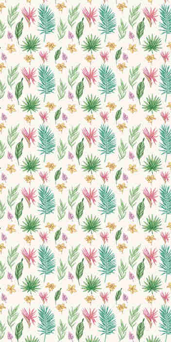 TenStickers. Flowers and palm trees Nature Wallpaper. Give your home a fresh atmosphere with this amazing nature wallpaper with a pattern of hand drawn flowers and tropical leaves in a white background.