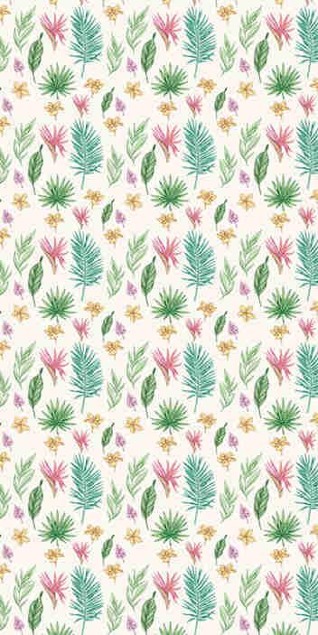 TenStickers. Carta da parati a fiori fiori e palme. Dai alla tua casa un'atmosfera fresca con questa straordinaria carta da parati naturale con un motivo di fiori disegnati a mano e foglie tropicali su uno sfondo bianco.
