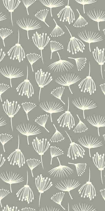 TenStickers. Papier peint fleur Pissenlit. Avec ce papier peint floral de pissenlits dessinés à la main dans un fond gris, vous pouvez transformer votre chambre en votre propre prairie de pissenlit.