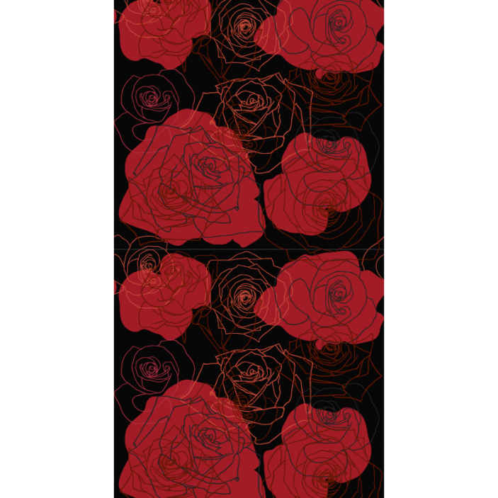 TenStickers. Set of roses Nature Wallpaper. A featured flower wallpaper decoration for your home with red rose designed on red background. It is easy to apply and maintain .