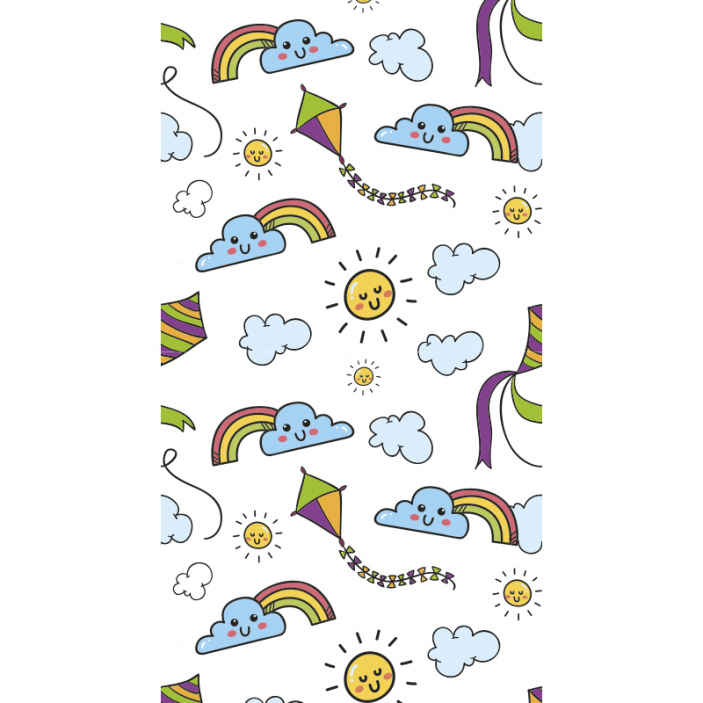 TenStickers. Rainbow , sun and kite Kids Wallpaper. An amazing children wallpaper for children to fill their dreams and fantasies. It is featured with the sun, rainbow and kite in a happy and fun style.