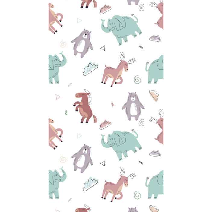TenStickers. Different animals Bedroom Wallpaper. Decorate the bedroom space of your little one in a fun and comfortable ways with our original kids animals wallpaper  made of high quality material.