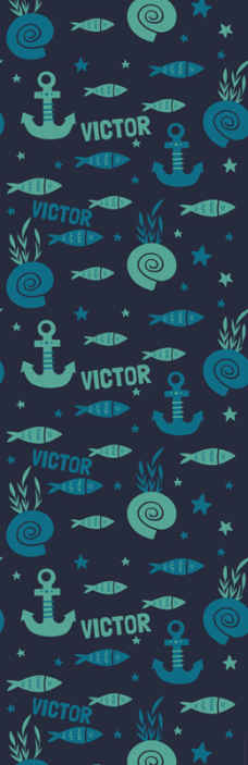 TenStickers. Carta da parati camera da letto pesce e ancora sott'acqua. Decorazione della carta da parati con pesci e decorazioni di ancoraggio per la camera da letto del bambino. E' personalizzabile con il nome scelto.