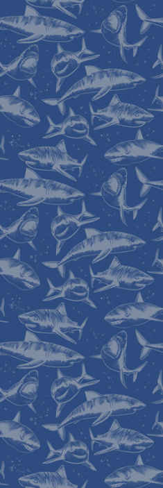 TenStickers. Furious Sharks Bedroom Wallpaper. Blue wallpaper with design of fish prints to decorate a home wall space with glam. It is available in any required size dimension.