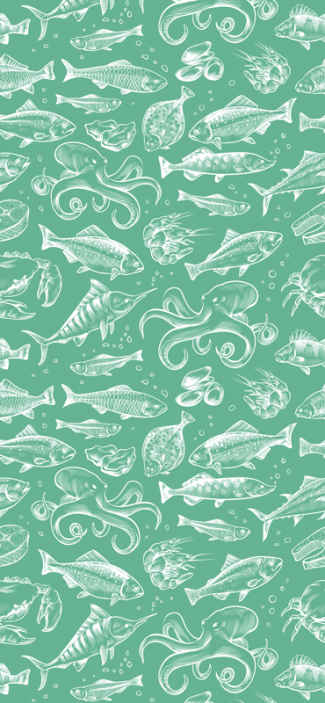 TenStickers. Sketch fish hand draw Dining Room Wallpaper. A green wallpaper with the design of underwater fish prints. This design placed on a wall surface is everything to create amazing and luxurious look.