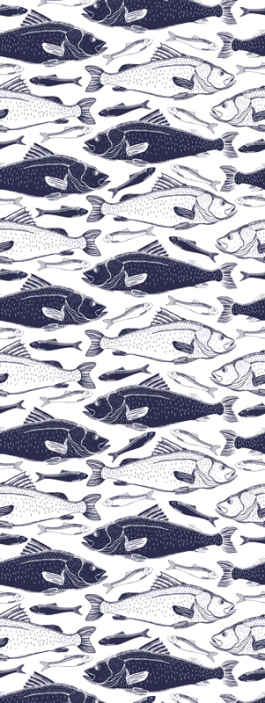 TenStickers. Under sea fishes Living Room Wallpaper. An underwater sea fish print wall paper to decorate a space with glam. It is available in any required dimension and it is easy to apply