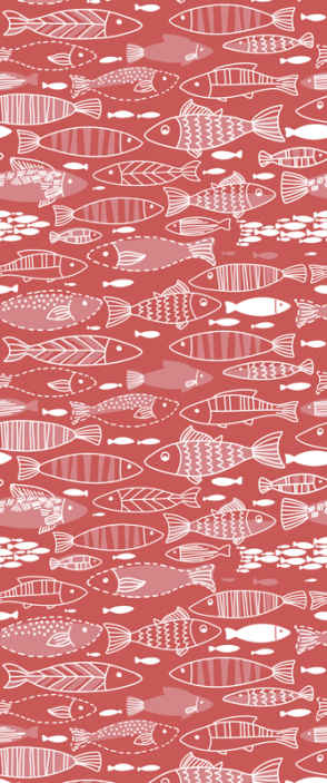 TenStickers. Many fish under sea Hallway Wallpaper. Fish prints wallpaper sticker to decorate any wall space in the home. It is easy to place and available in any required dimension.