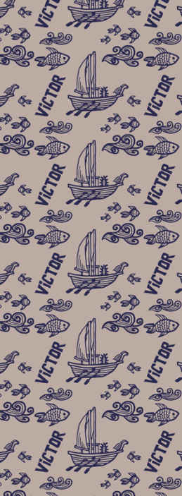 TenStickers. Marine boat and fish Childrens Wallpaper. A personalisable name wall paper for kids bedroom with the design of marine elements. It is available in any required size dimension.